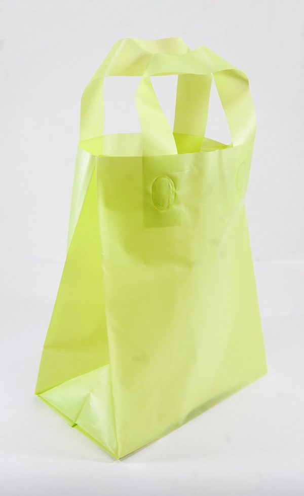 FROSTED BAG WITH HANDLE 8X10 LIME-0